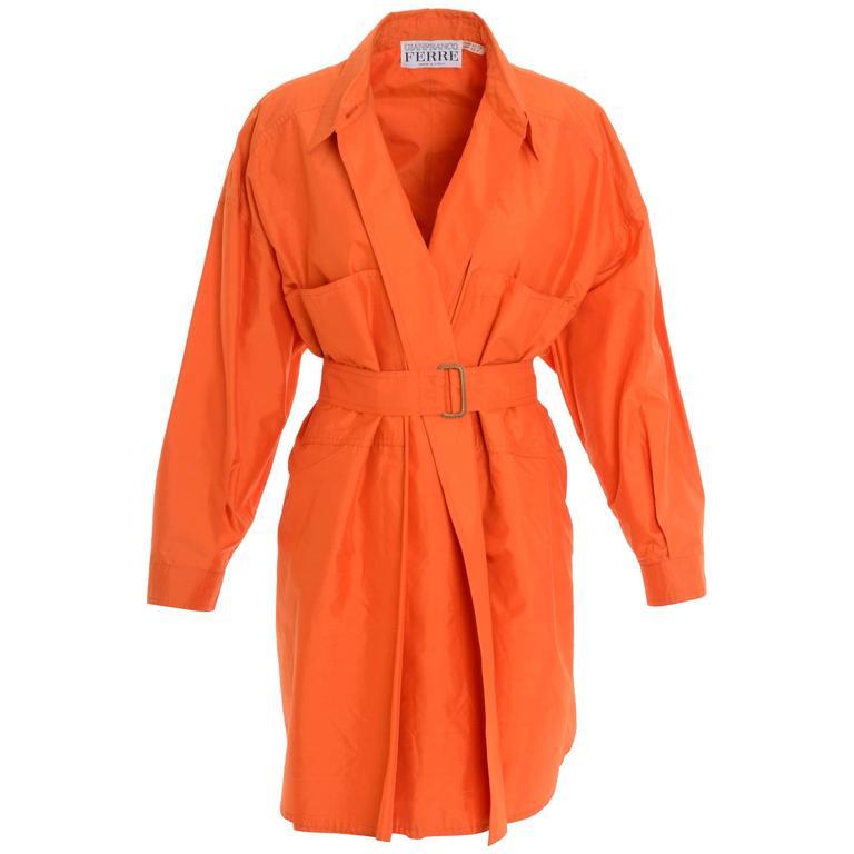 1990s GIANFRANCO FERRE' Orange Silk Oversize Long Jacket