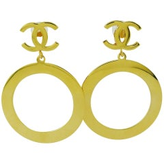 Chanel Vintage Massive Gold Toned Iconic Hoop Dangling Earrings