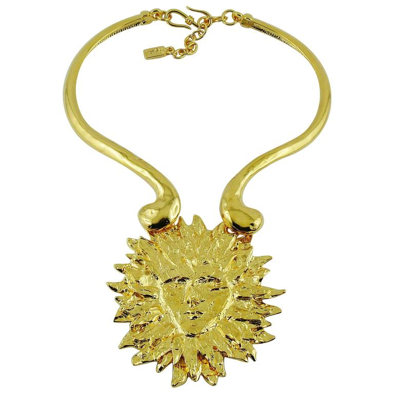 Yves Saint Laurent YSL Robert Goossens Vintage Rare Sun Face Chocker Necklace 1