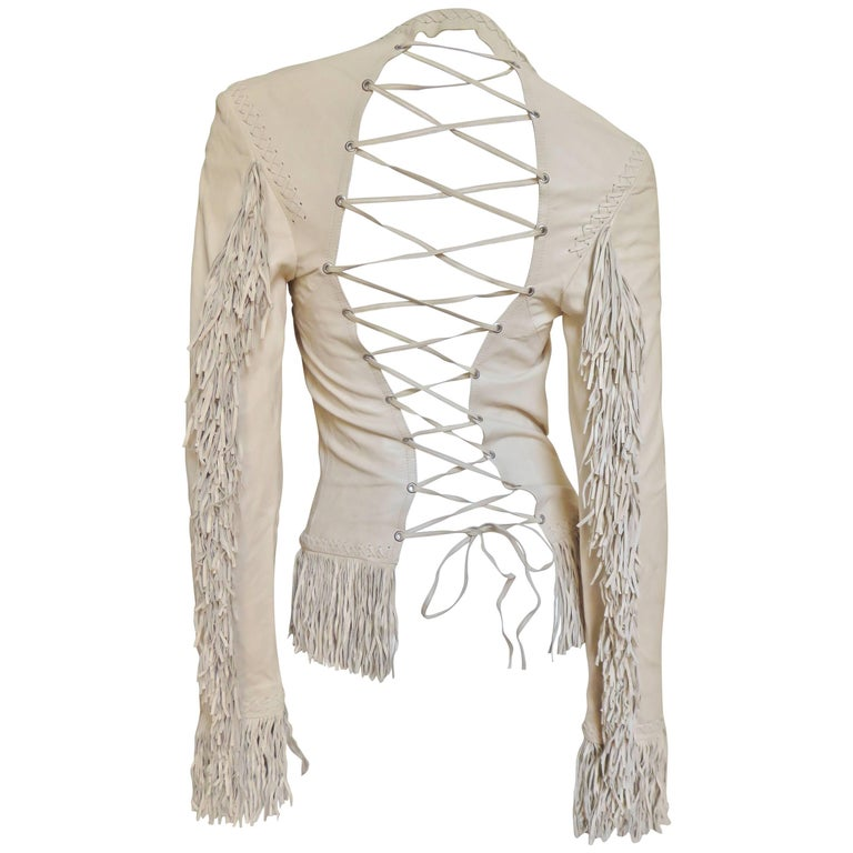 1990s Gianni Versace Laceup Fringe Leather Jacket