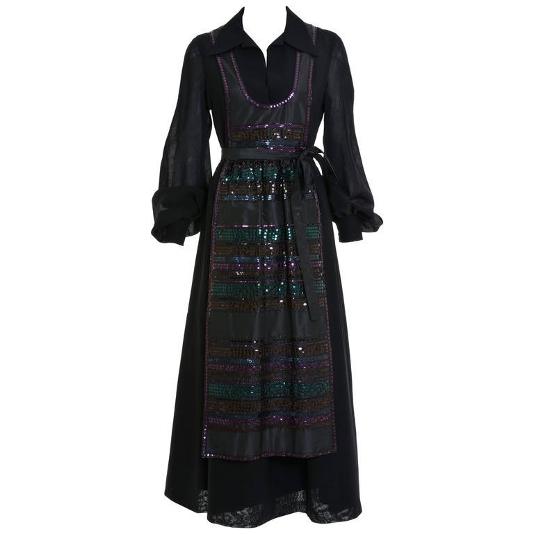 1970s LANVIN Black Tyrolean Style Long Dress