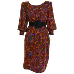 1980s YVES SAINT LAURENT Rive Gauche Printed Silk Dress