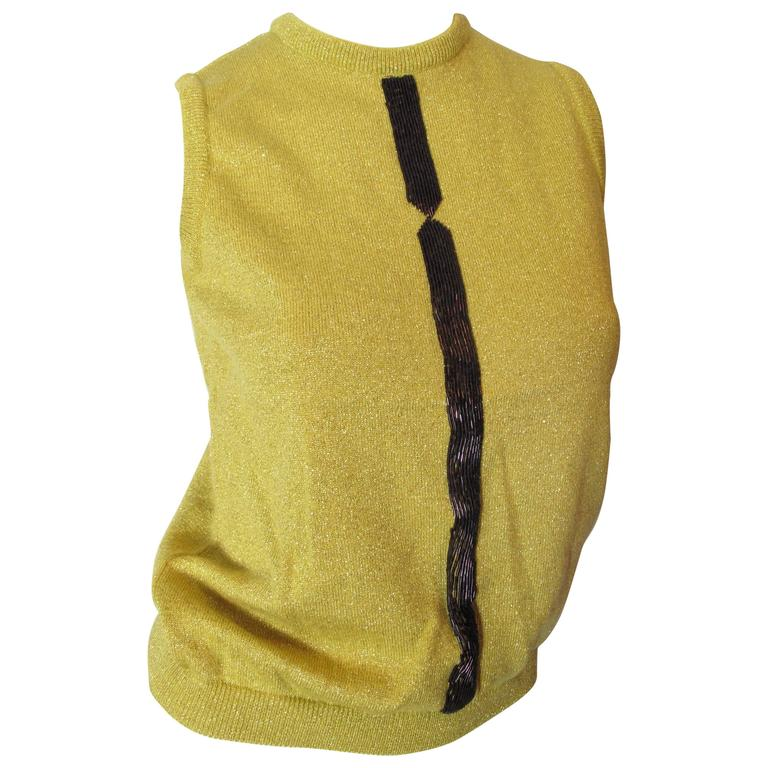 1997 Versace Couture Beaded Sleeveless Sweater  1
