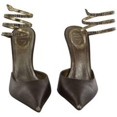 RENE CAOVILLA Pumps 38,5 FR in Smooth Bronze Leather with a Rhinestone Snake