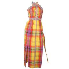 1970s Donald Brooks Madras Gown