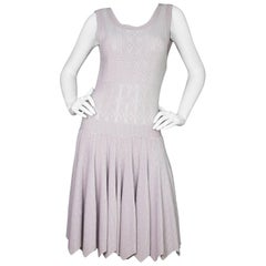 Alaia Mauve Eyelet Fit and Flare Dress Sz FR42