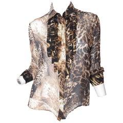 Kenzo Sheer Leopard Ruffle Blouse