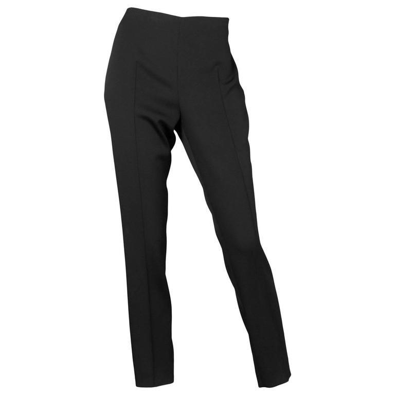 Akris Black Silk Cropped Pants Sz 8 1