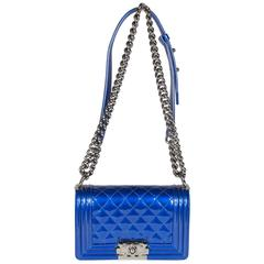 Chanel Quilted Blue Patent Leather Boy Bag, 2014