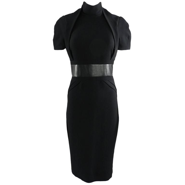 Gucci Fall 2013 runway Black Hourglass Dress with Leather Waist For Sale