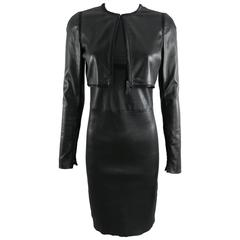 Prada black lambskin stretch leather Dress and Crop Jacket