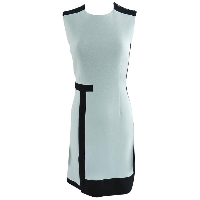 Balenciaga Light Blue and Black Geometric Dress For Sale