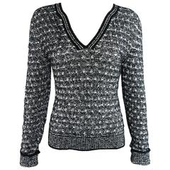 Chanel black and white v neck sweater