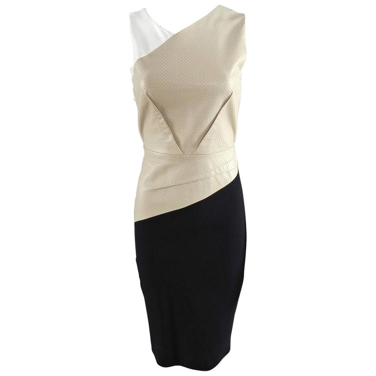 Roland Mouret Beige and Black Perforated Leather Wiggle Dress 1