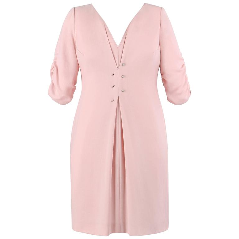 VALENTINO A/W 2007 Blush Pink 100% Wool Ruched Sleeve Cocktail Dress