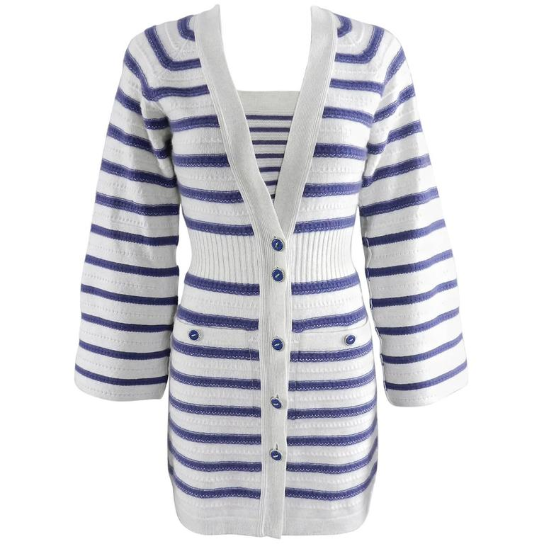 CHANEL 15S Runway Light Grey / Blue Cashmere Striped Cardigan & Tank For Sale