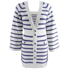CHANEL 15S Runway Light Grey / Blue Cashmere Striped Cardigan & Tank