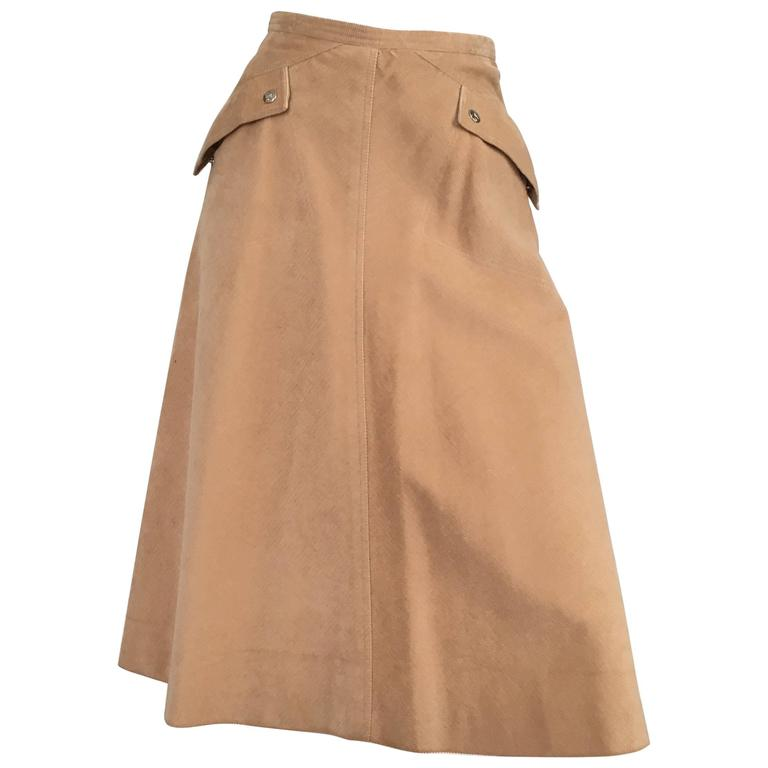 Courreges 1970s Khaki Corduroy A-Line Skirt With Pockets Size 4. 1