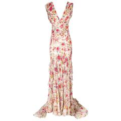 Badgley Mishka Beaded and Embroidered Chiffon Gown
