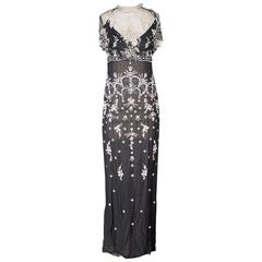 Badgley Mishka Beaded and Embroidered Mesh and Chiffon Gown