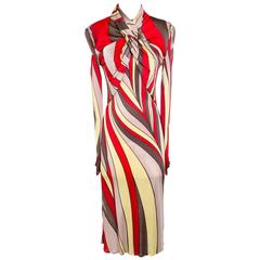 Versace Printed Stretch Jersey Dress with High Twisted Neck circa 1990s