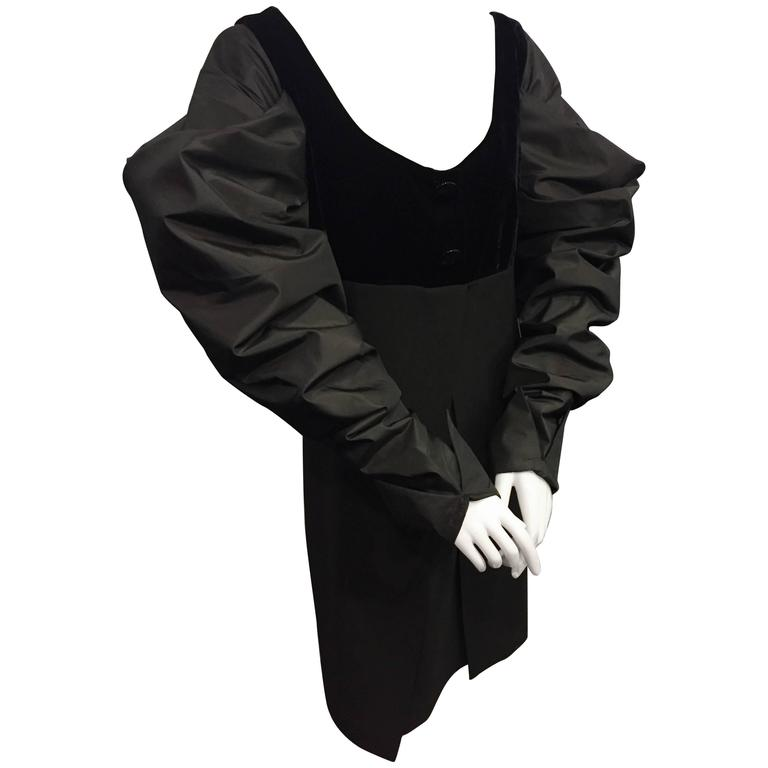 "1980s Gianfranco Ferre Black Cocktail Dress w Sheer ""V"" Back & Silk Puff Sleeves 1"
