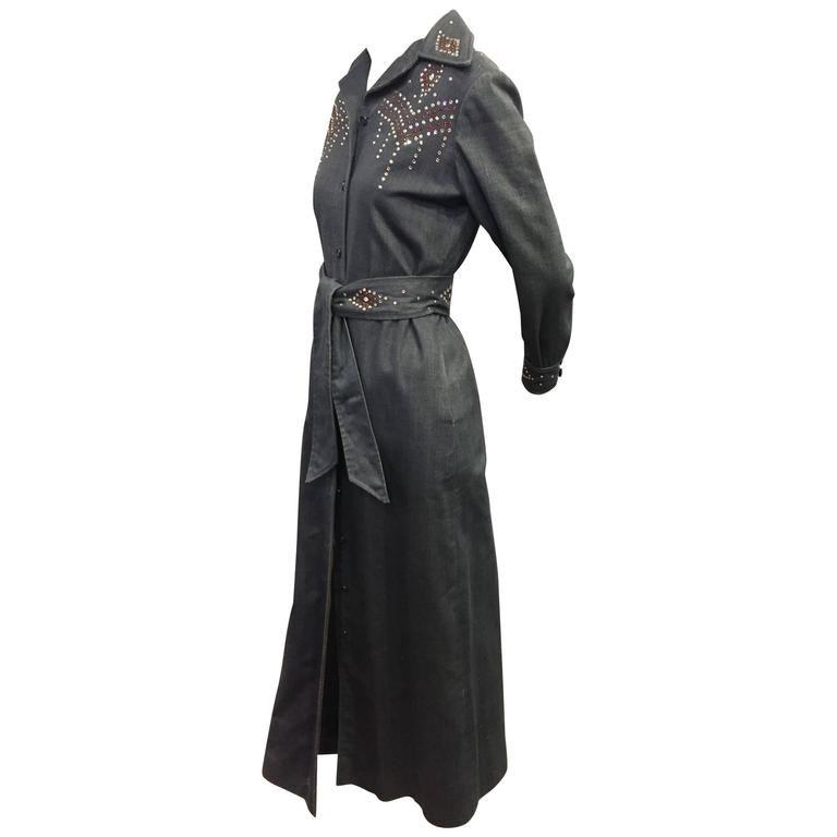 1970's Rhinestone Studded Denim Maxi Coat Dress  For Sale