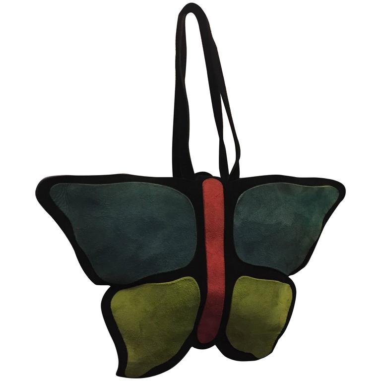 1970s Mark Cross Colorful Suede Butterfly Shaped Handbag  1