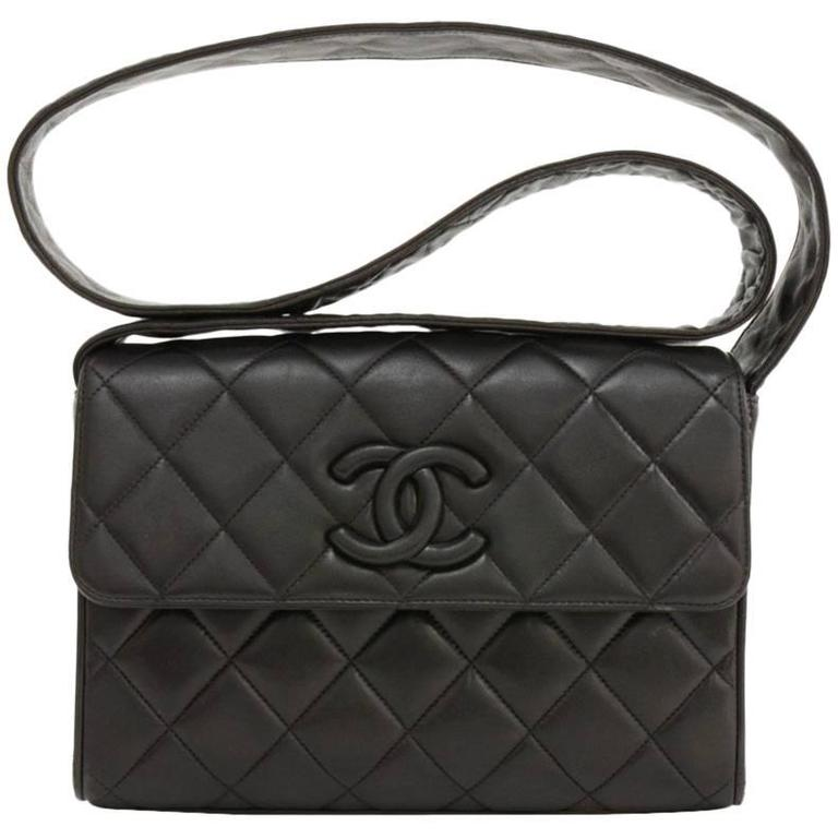 Vintage Chanel 9  Flap Black Quilted Leather Shoulder Bag For Sale ... : vintage chanel quilted shoulder bag - Adamdwight.com