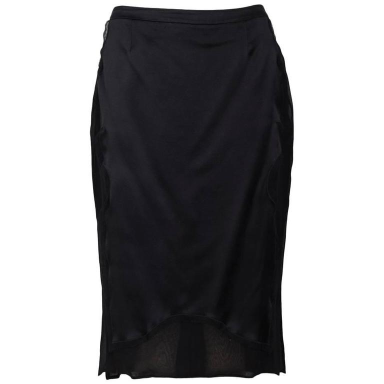 YVES SAINT LAURENT Pencil Skirt In Black Satin And Silk Crepe