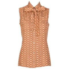 HERMES Sleeveless, Pussy Bow  Blouse