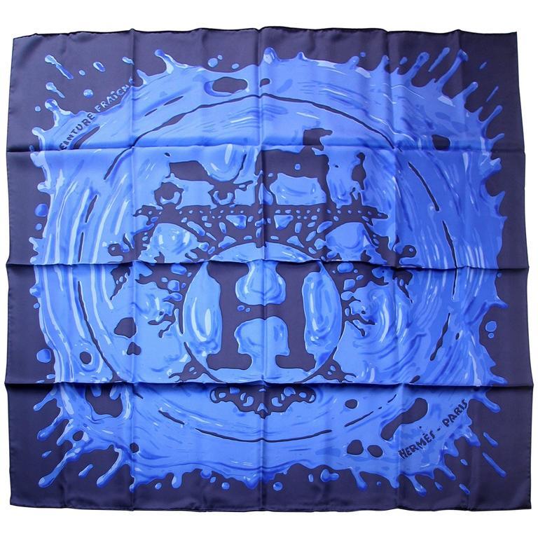 Herm s scarf silk twill peinture fraiche 90 cm brand new - Bleu vintage peinture ...