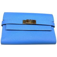 Hermès Kelly Compact Wallet Epson Bleu Paradise / BN