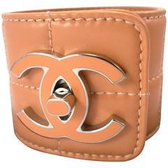 RARE vintage Chanel leather & CC enamel cuff