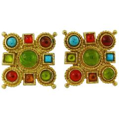 Edouard Rambaud Vintage Multicolored Glass Cabochons Clip-On Earrings