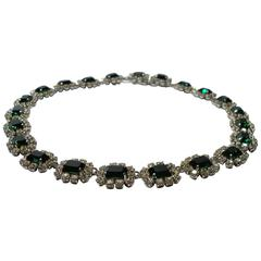Dior Germany Emerald Rhinestone vintage 1966  Necklace