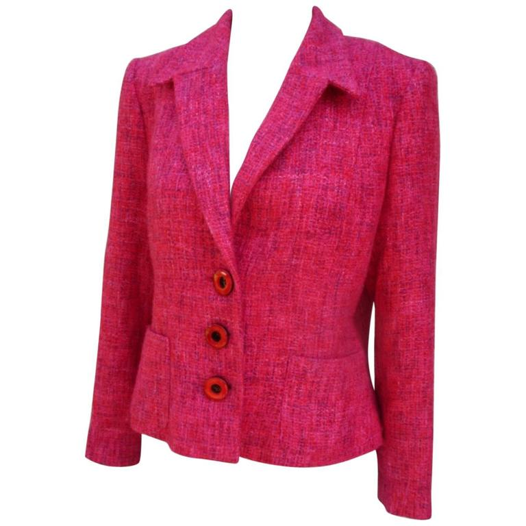 03431fca Pierre Balmain Paris red rose light wool jacket For Sale at 1stdibs