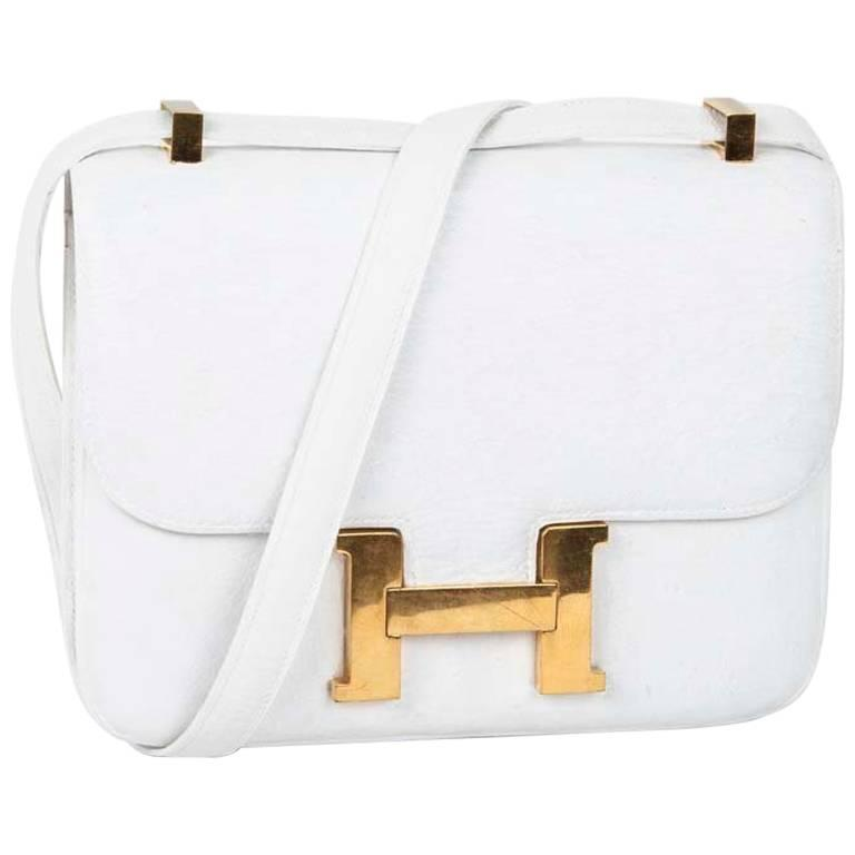HERMES 'Constance' Bag in White Ostrich Leather