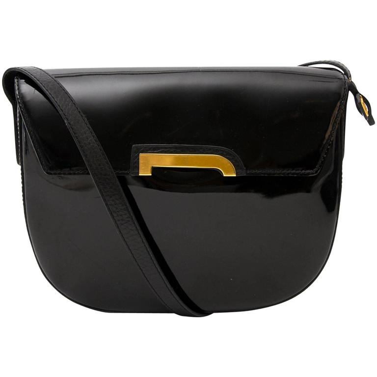 Delvaux Black Crossbody Bag Patent Leather  For Sale