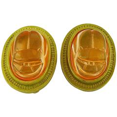 Christian Dior by John Galliano Egyptian Revival Scarab Clip-On Earrings