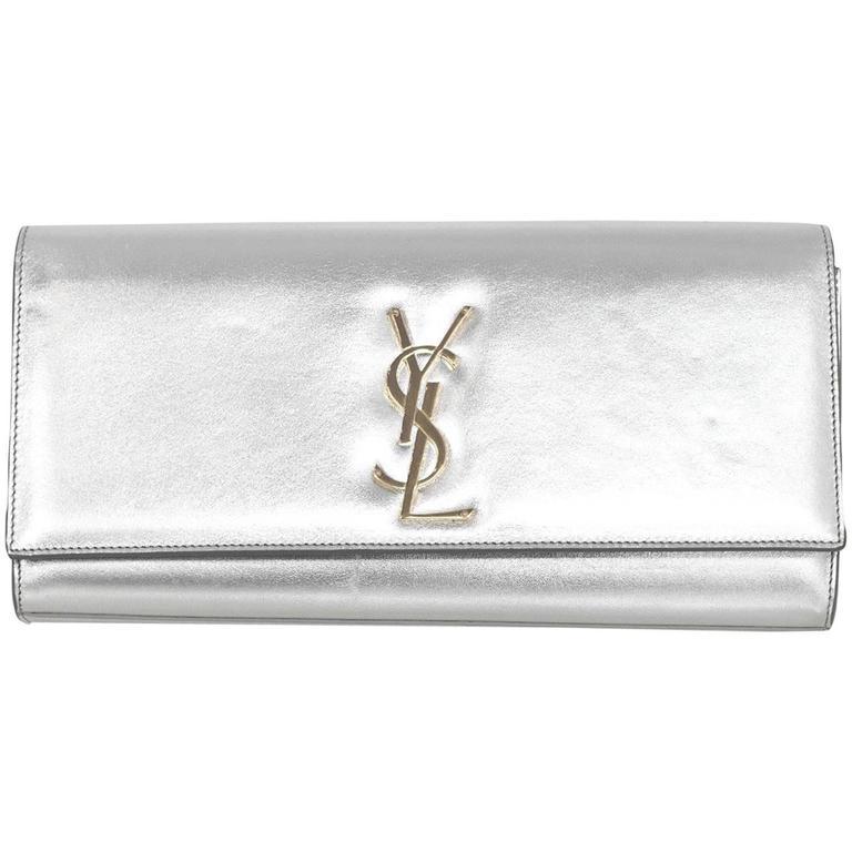 Saint Laurent Silver Leather Cassandre Monogram Clutch Bag 1