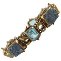Stephen Dweck Blue Topaz Crystal Quartz Bronze Bracelet NWT, 2001