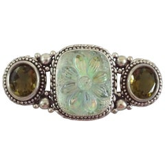 Stephen Dweck Green Agate and Crystal with Silver Trim Brooch - NWT - 2001