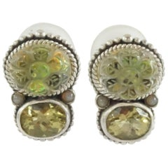 Stephen Dweck Intaglio Rock Crystal and Lemon Citrine Silver Earrings-NWT