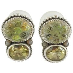 Stephen Dweck Intaglio Rock Crystal and Lemon Citrine Silver Earrings-NWT
