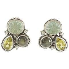 Stephen Dweck Olive Labradorite, Citrine, and Peridot Crystal Earrings - 1997