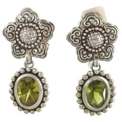 Stephen Dweck Peridot Crystal with Silver Flower and Trim Clip Earrings