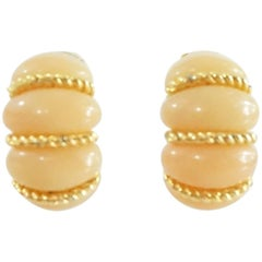 Kenneth Jay Lane Peach and Gold Clip Earrings