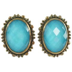 Stephen Dweck Turquoise Crystal Clip Earrings with Bronze - NWT