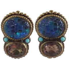 Stephen Dweck Smoky Quartz Blue Turquoise Clip Earrings with Bronze